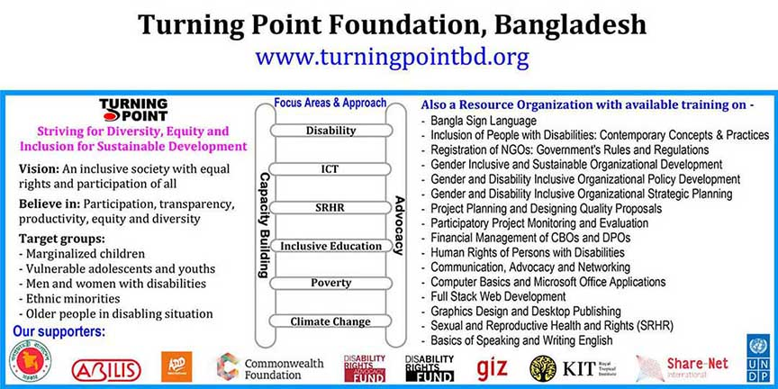 TurningPoint at a glance includiong vision, target groups, areas and approaches, available training and the logos of its donors